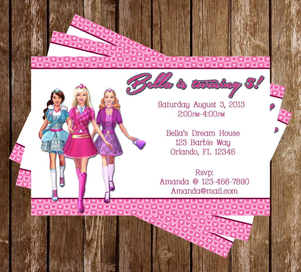 barbie birthday party invitation printable