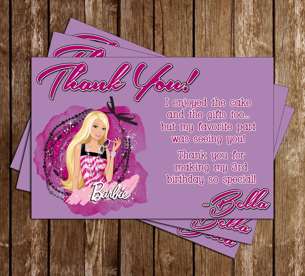 barbie doll birthday party thank you card printable
