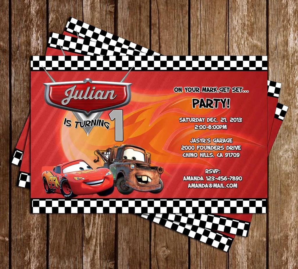 disney s cars racing birthday party invitation