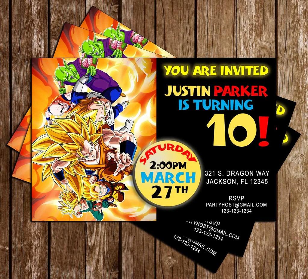 Novel Concept Designs Dragon Ball Z Anime Birthday Invitation