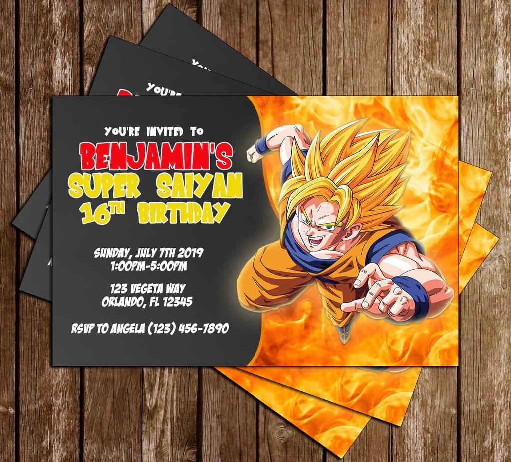 Novel Concept Designs Dragon Ball Z Goku Anime Birthday Invitation