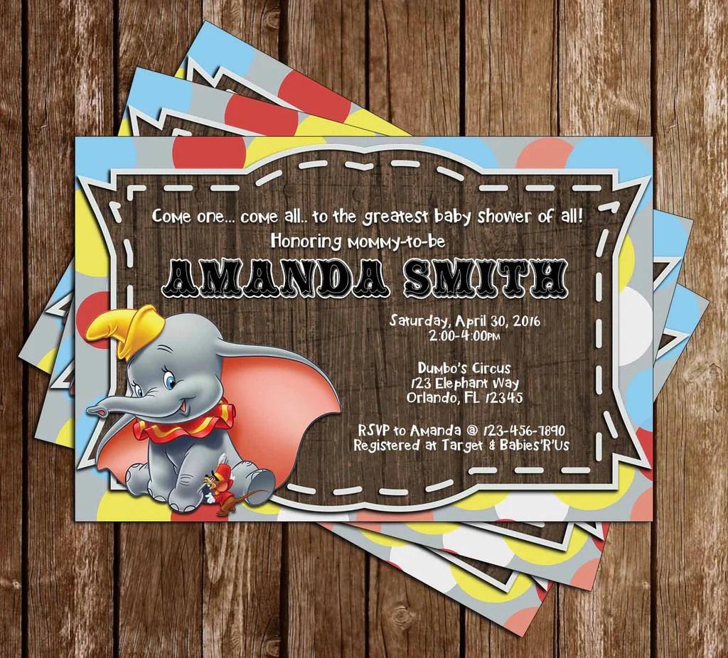 Dumbo The Flying Elephant Gender Neutral Baby Shower Invitation