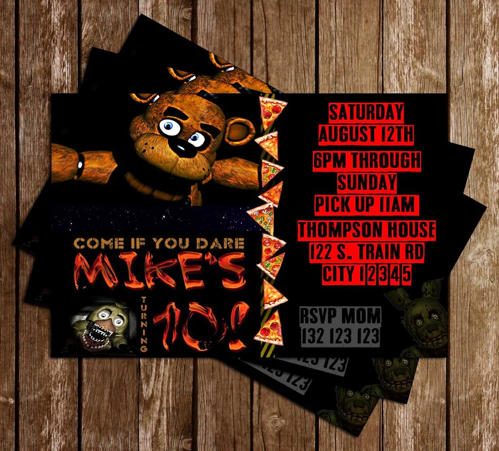five nights at freddy s red birthday party invitation