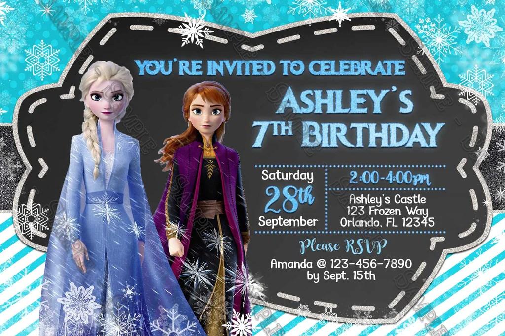 7th birthday invitation card frozen