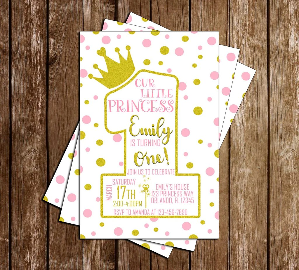 Novel Concept Designs Pink And Gold Princess 1st Birthday Birthday Party Invitation