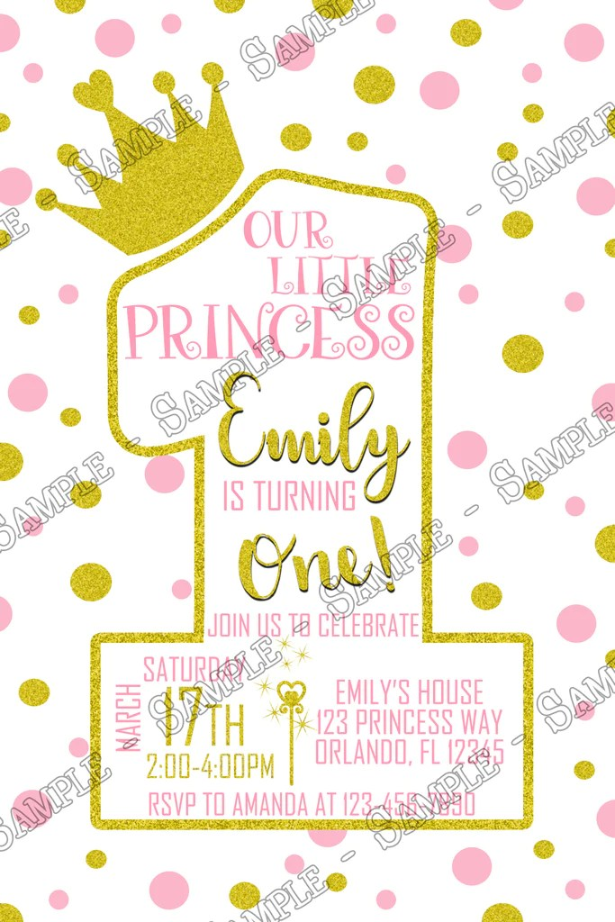 Novel Concept Designs Pink And Gold Princess First Birthday Birthday Party Invitation