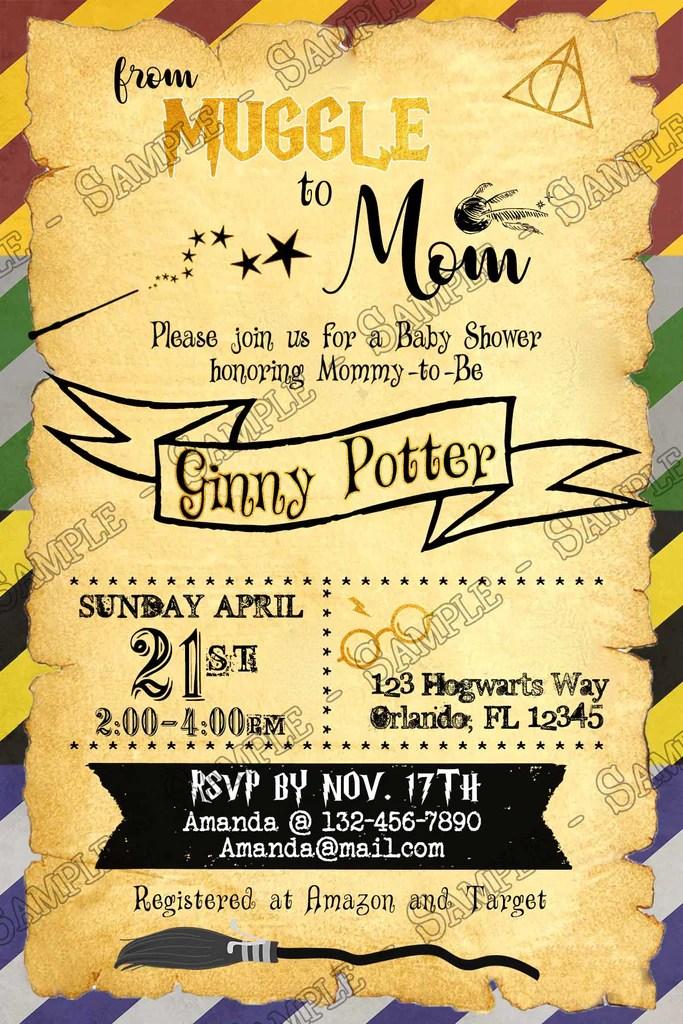 Harry Potter Hogwarts Baby Shower Invitation