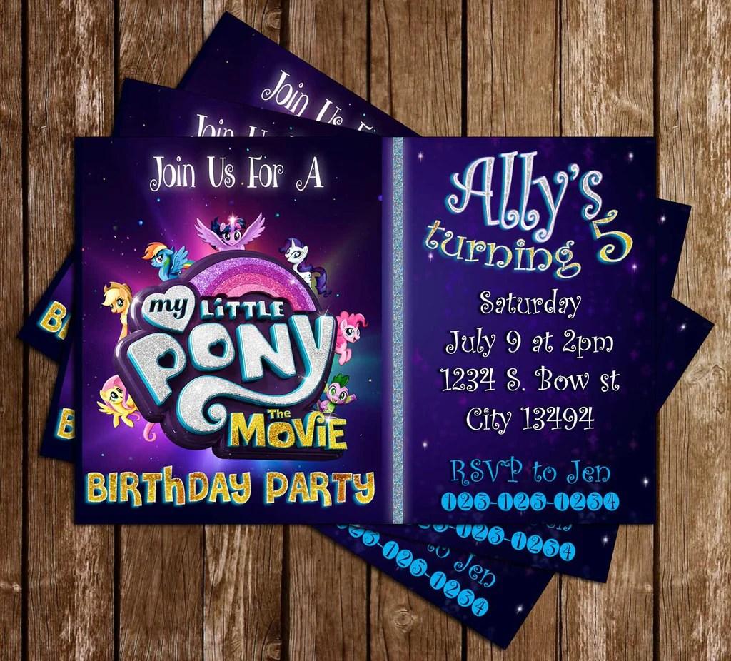 my little pony movie purple birthday party invitation