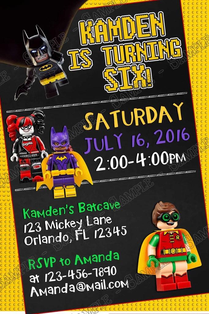 lego batman movie birthday party invitation