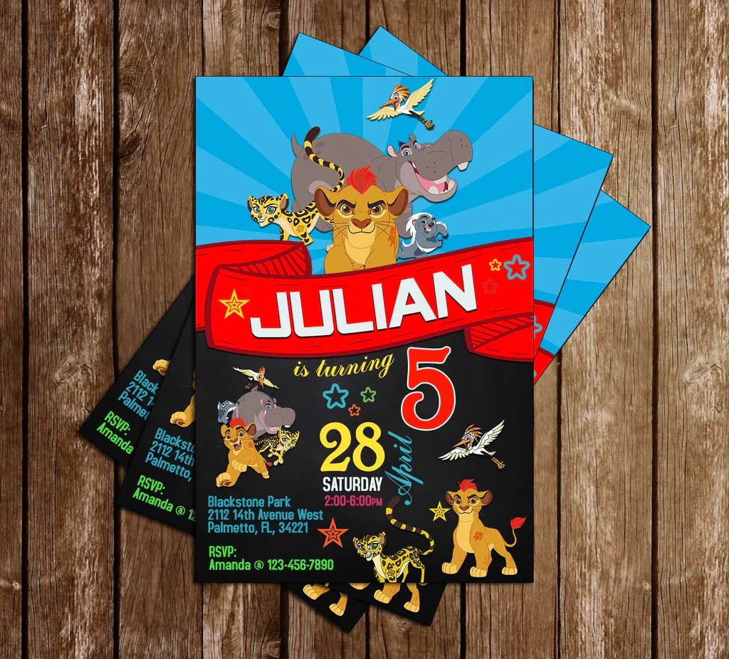 disney s the lion guard tall lion king birthday party invitation