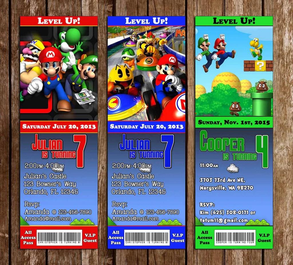 super mario bros ticket video game birthday party invitation