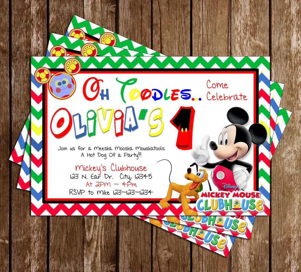 disney mickey mouse clubhouse birthday party invitation