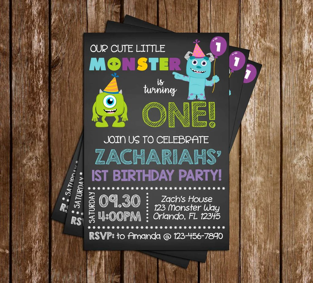 Novel Concept Designs Monsters Inc Chalkboard Birthday Party Invitation