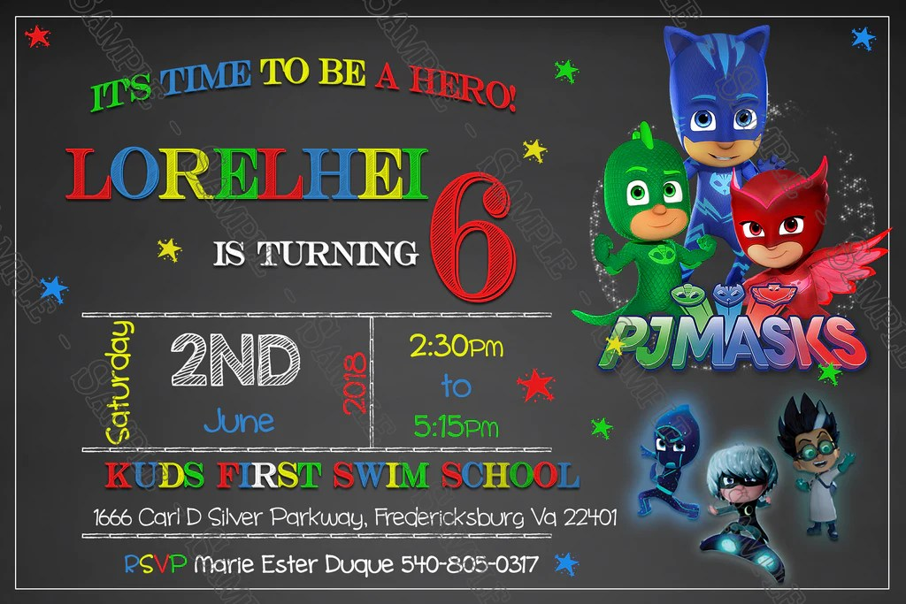pj masks superhero chalk wide birthday invitation