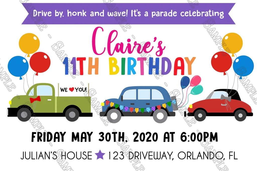 birthday parade girl party invitation