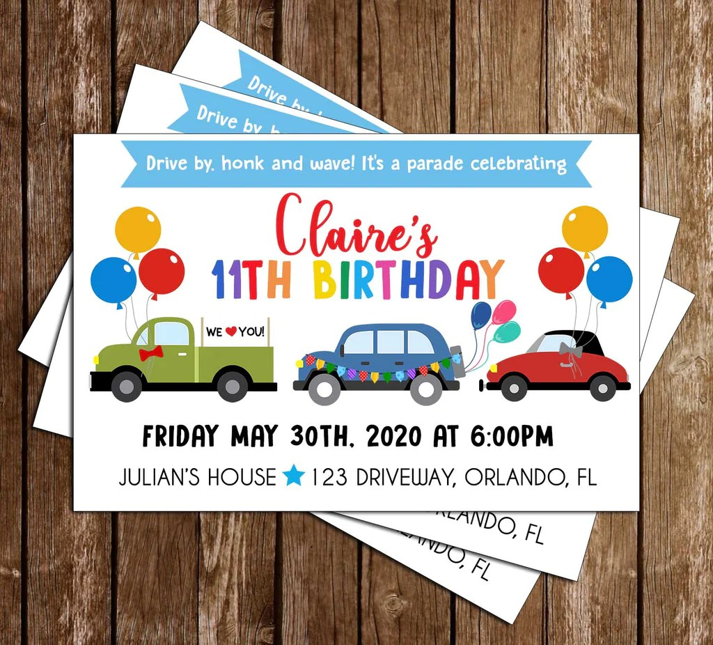 birthday parade boy party invitation