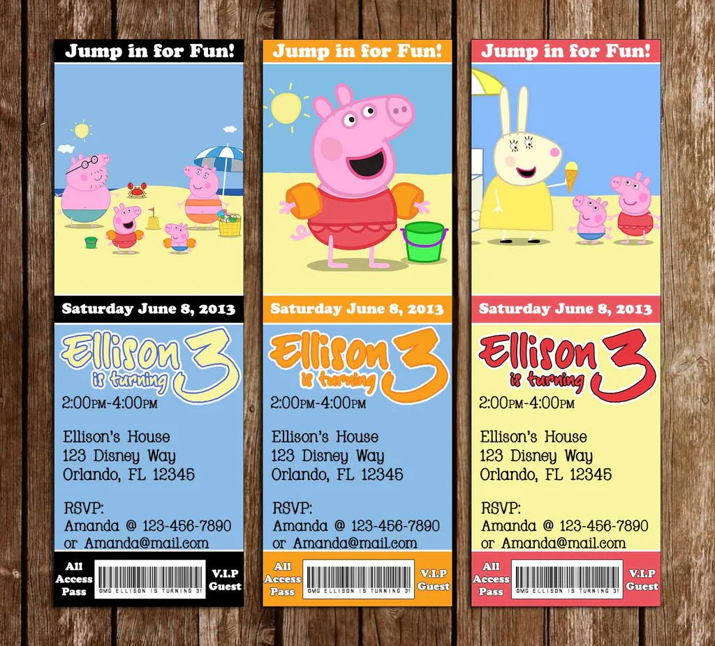 peppa pig birthday pool party ticket invitations