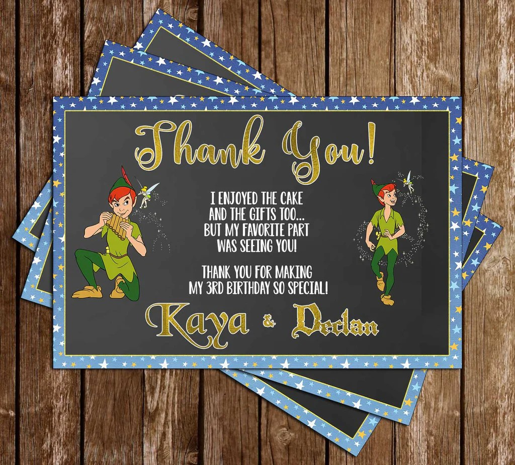 peter pan tinkerbell birthday party thank you card