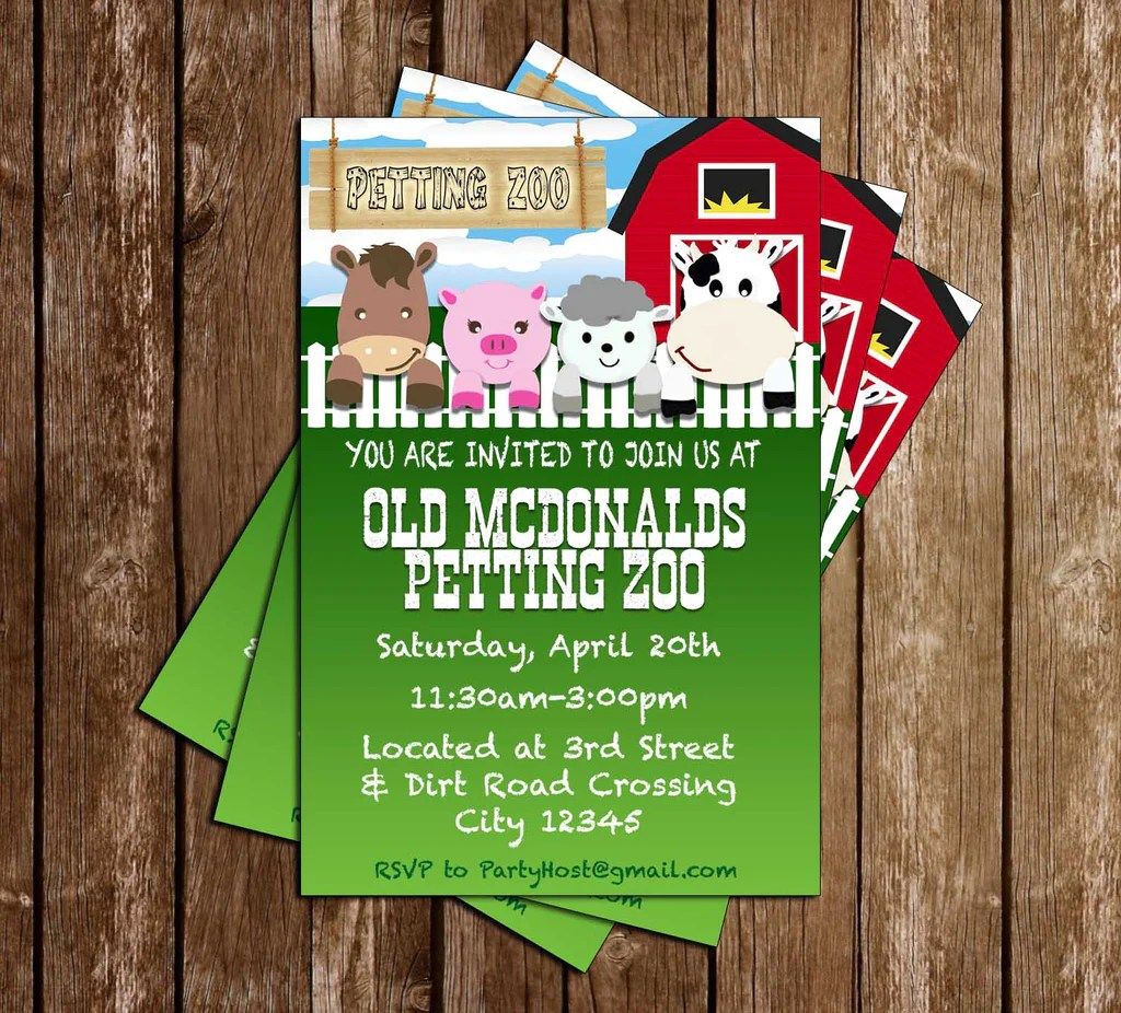 Novel Concept Designs Petting Zoo Animals Birthday Party Thank You Card