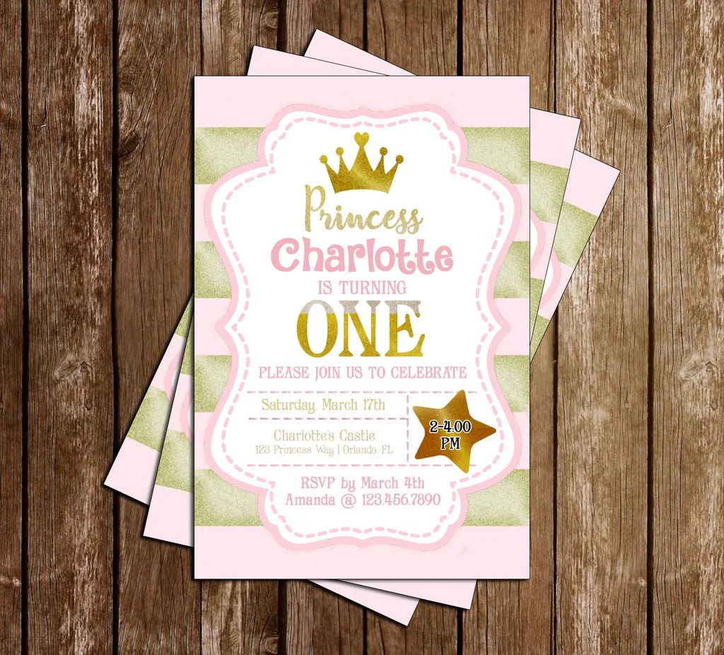 pink and gold 1st birthday princess birthday party invitation