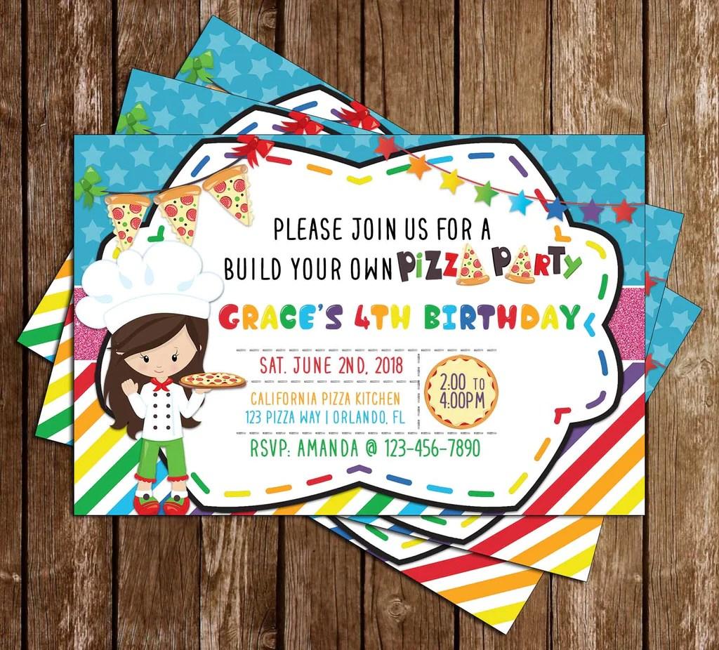 pizza party birthday party invitation