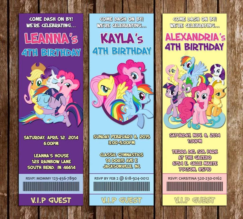 friendship my little pony birthday party ticket invitation