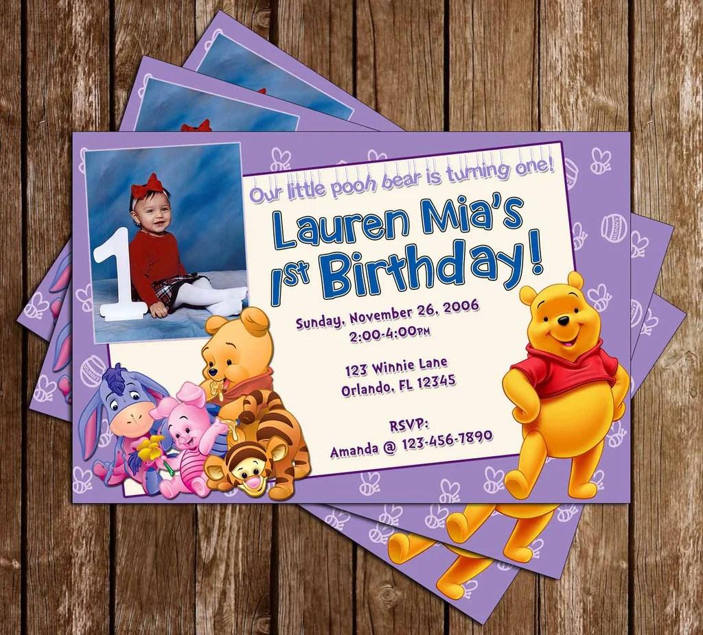 winnie the pooh 1st birthday birthday invitation