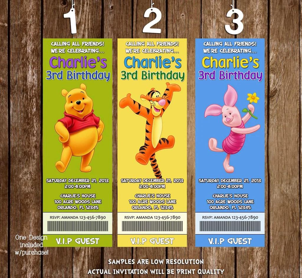 winnie the pooh ticket birthday invitation