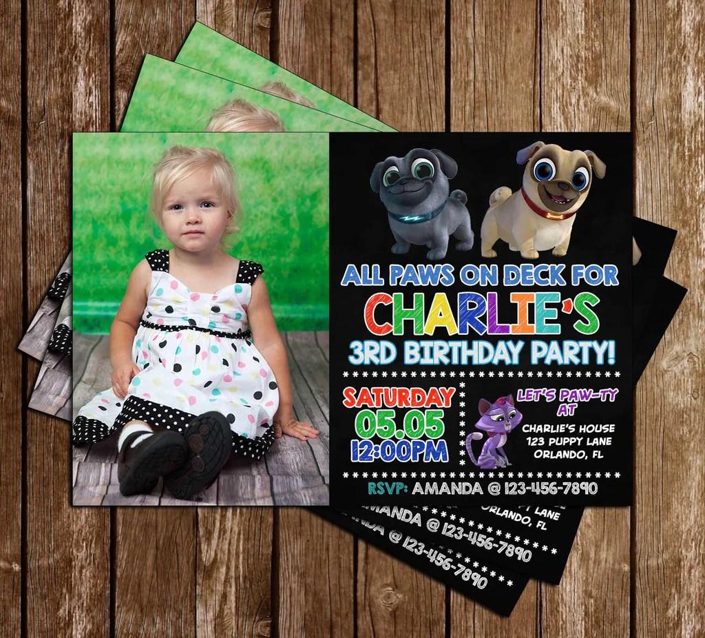 Novel Concept Designs Puppy Dog Pals Photo Birthday Party Invitations