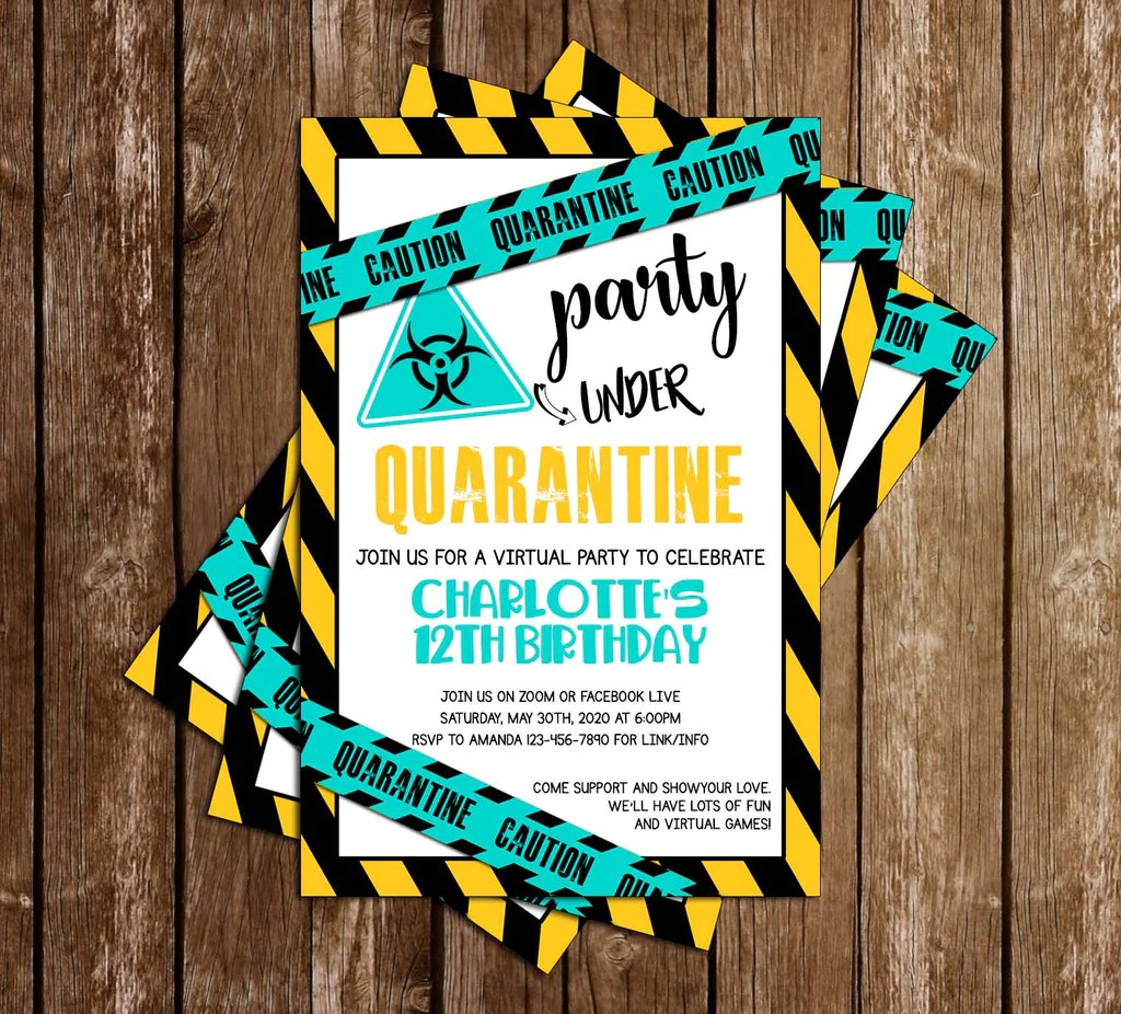 quarantine teal birthday party invitation