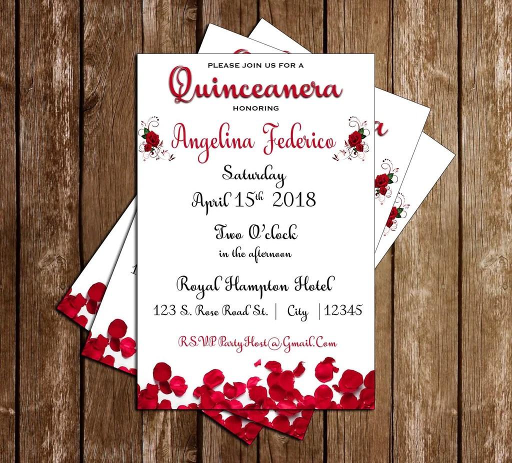 red roses quinceanera quinceanera 15th birthday invitation