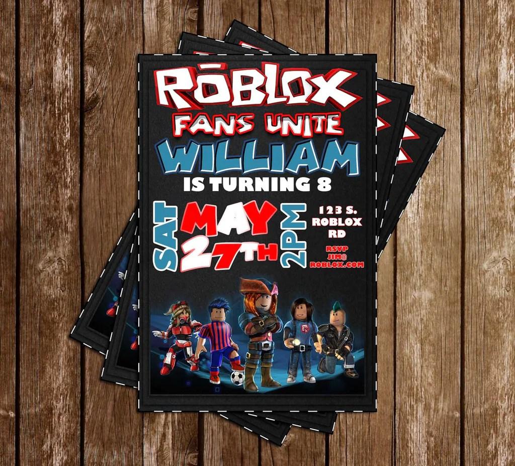 roblox game birthday party invitation