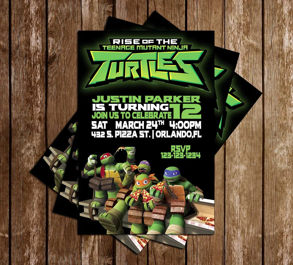 rise of tnmt ninja turtles birthday invitation