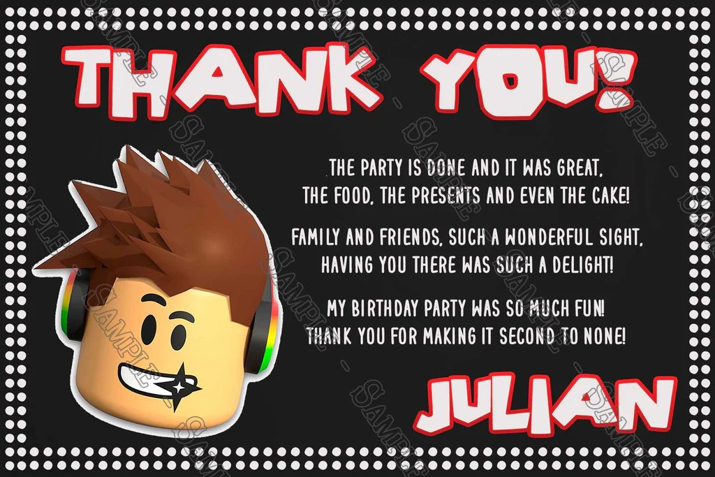roblox chalkboard birthday party thank you card