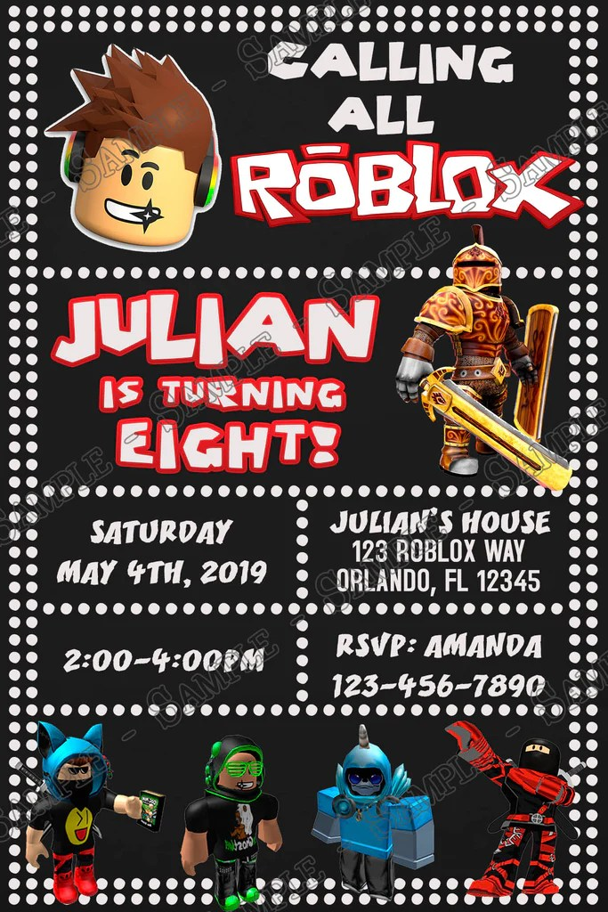 roblox tall birthday party invitation
