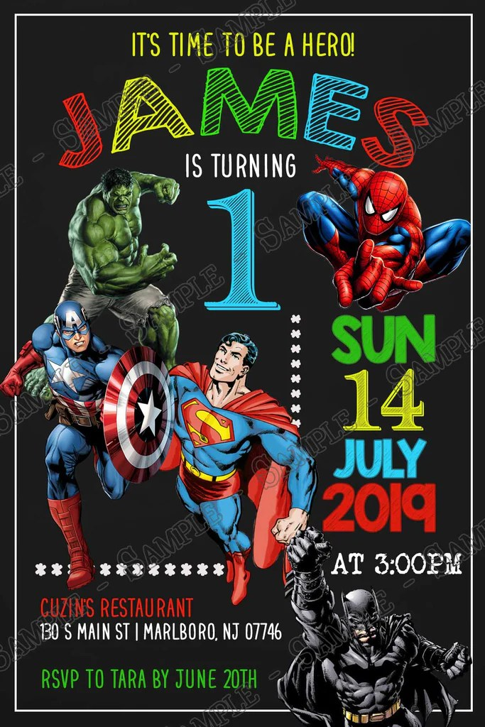 super hero superhero chalk birthday party invitation
