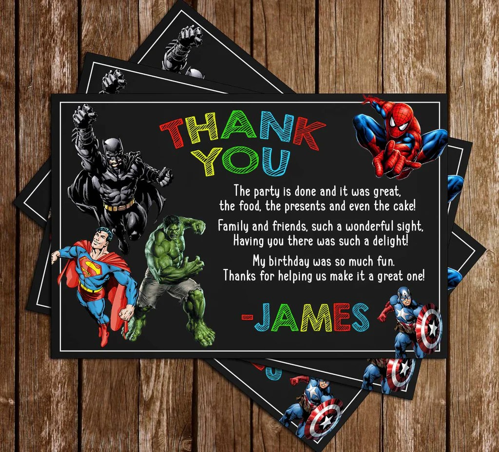 super hero avengers chalk birthday party invitation