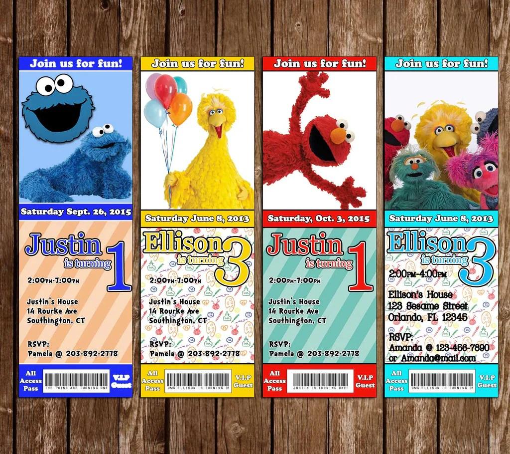 pbs sesame street birthday party ticket invitation
