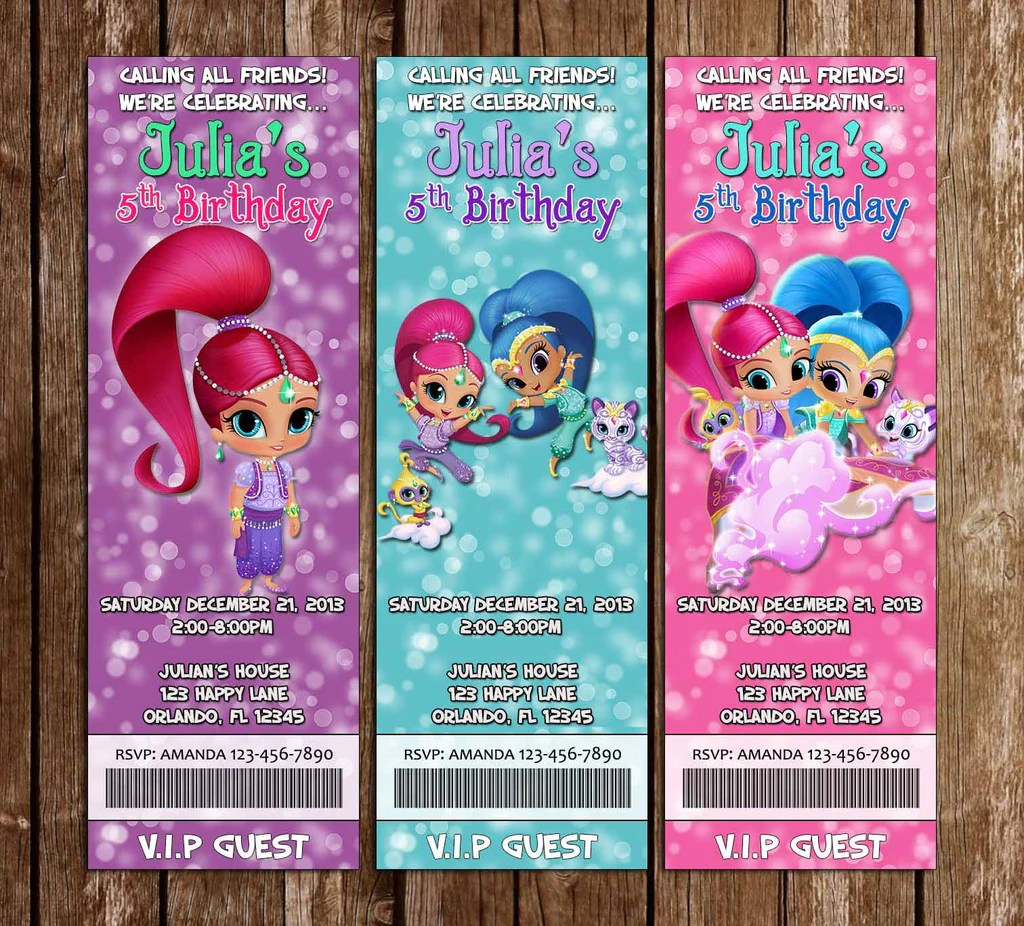 Novel Concept Designs Shimmer And Shine Show Birthday Party Ticket Invitation