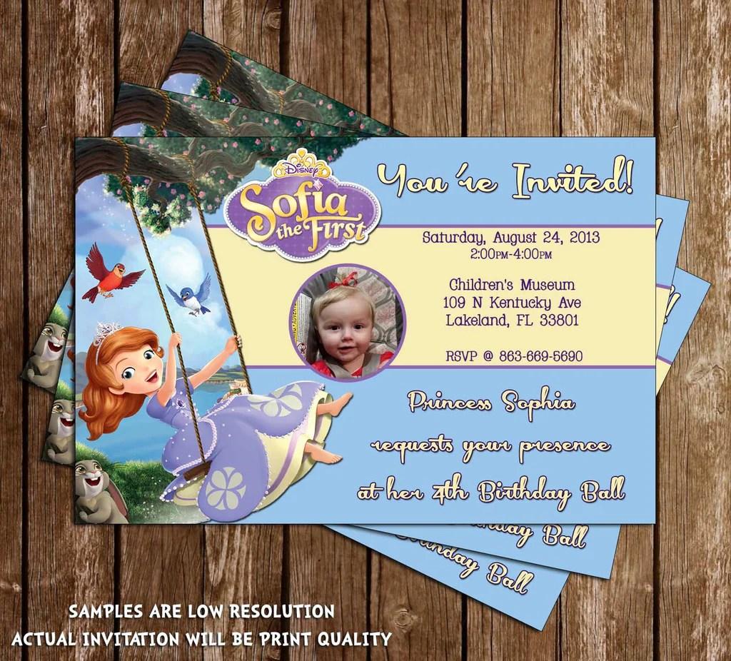 disney princess sofia the first birthday invitation