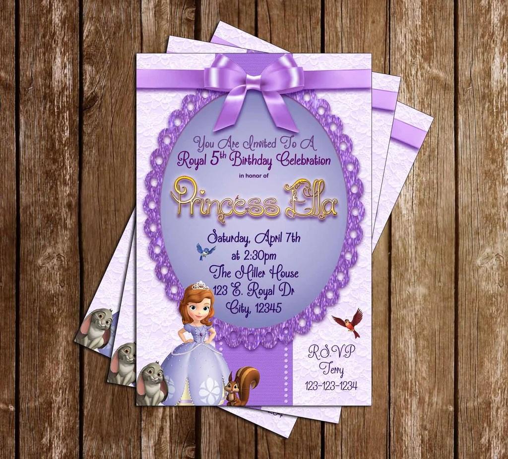princess sofia the first royal purple birthday invitation