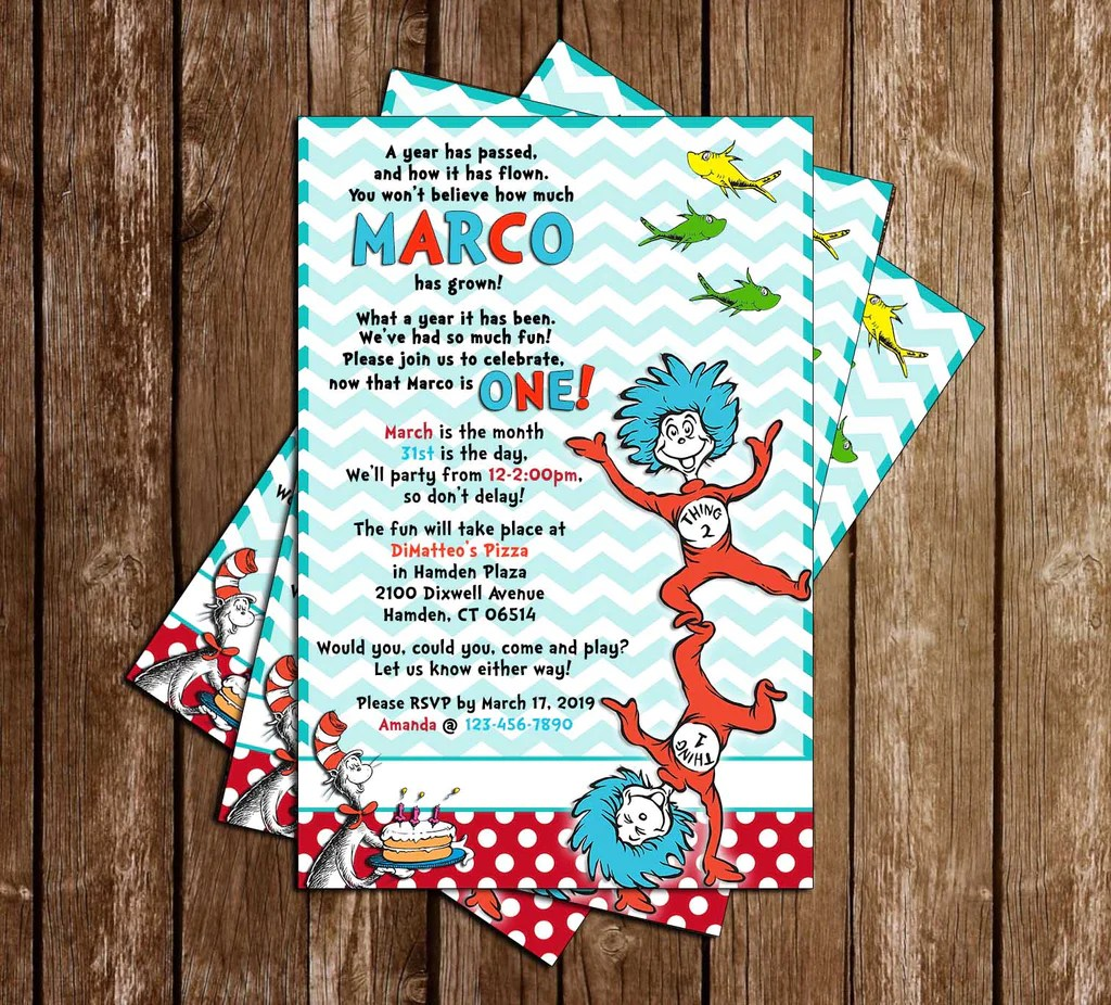 Novel Concept Designs Dr Seuss Thing One Two Birthday Party Invitation