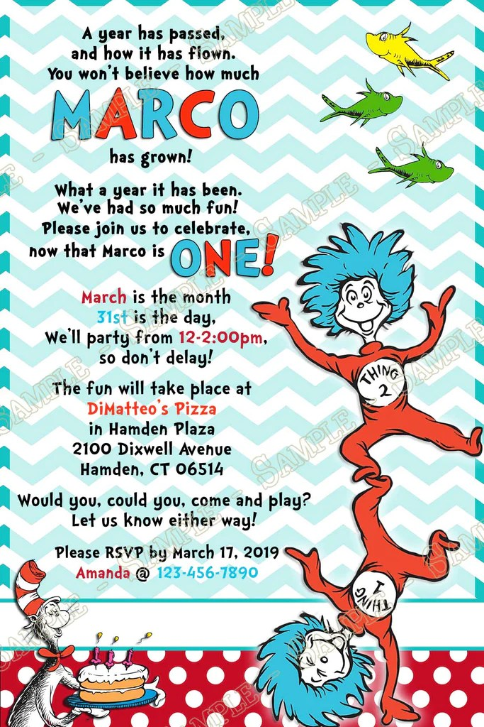 dr seuss thing one two birthday party invitation