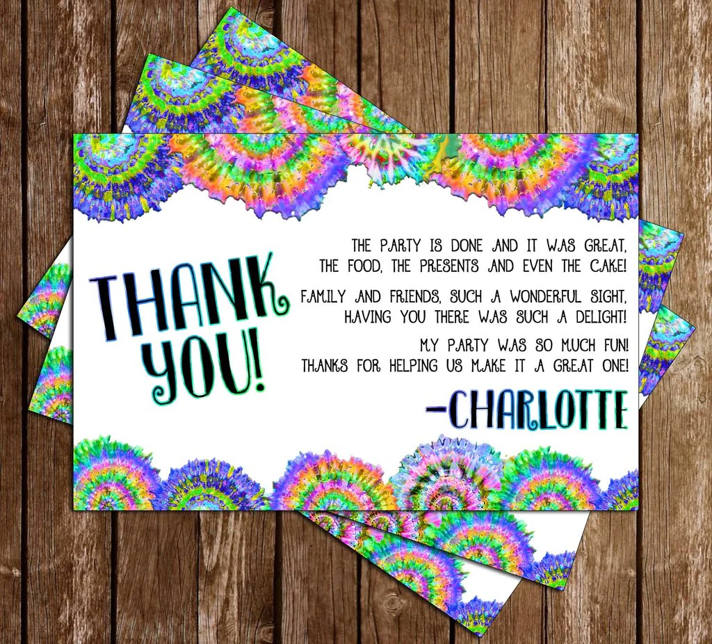 Tie Dye Birthday Party Thank You Card
