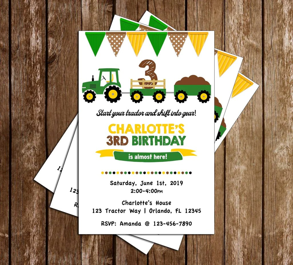 green tractor flags birthday party invitation
