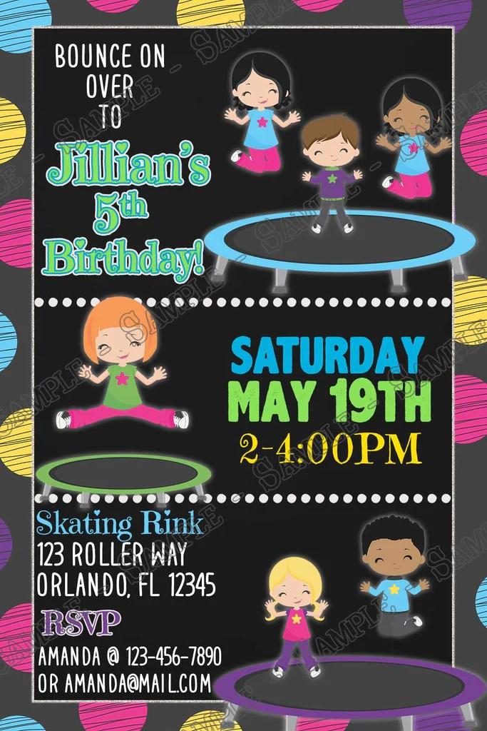 trampoline park jump birthday party invitation