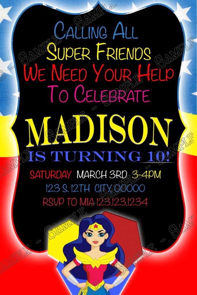 wonder woman dc superhero girls birthday party invitation