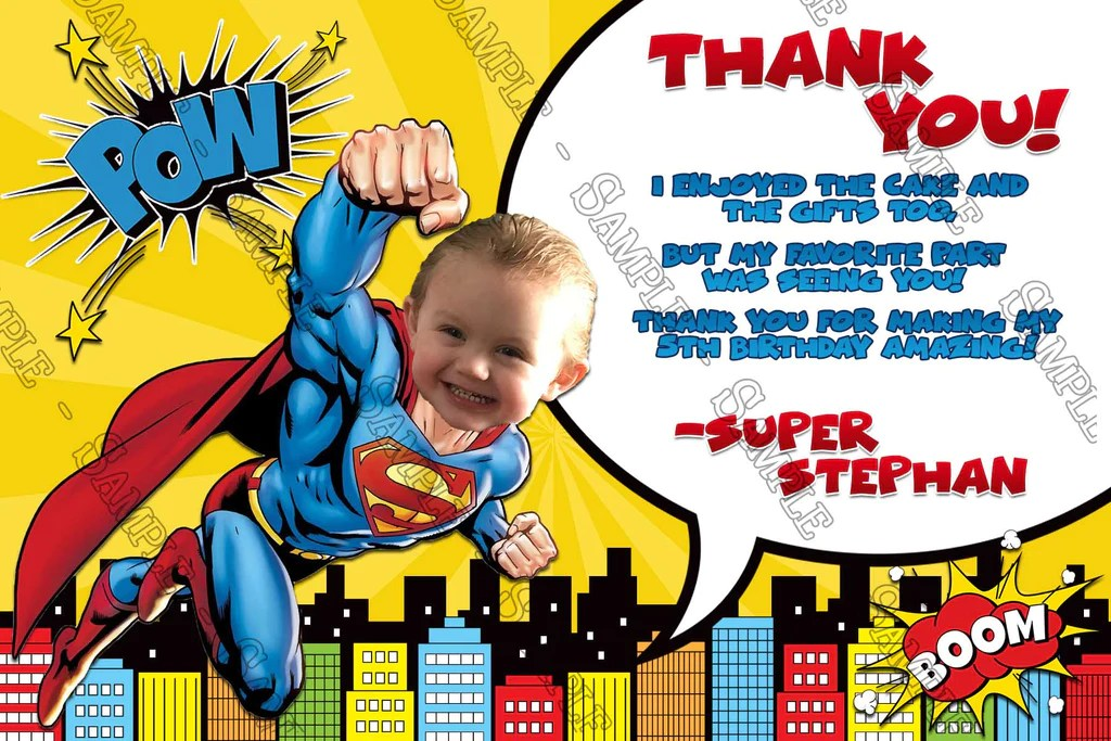 superman comic book birthday party invitation
