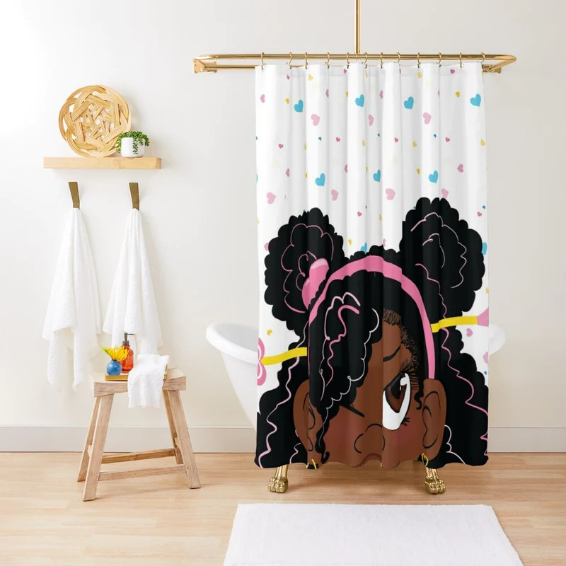 afro lady beautiful black woman shower curtain african themed bathroom wbgstore