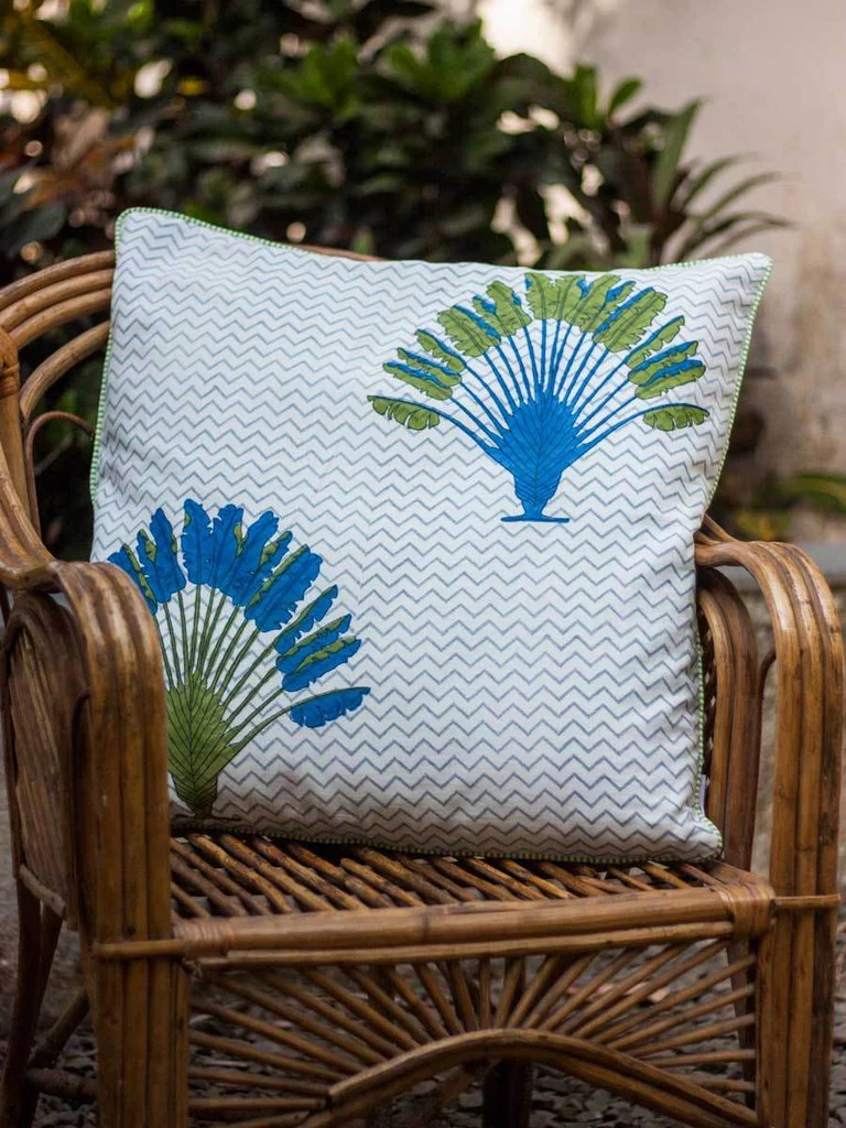 travellers palm hand block print cotton cushion cover 24 inch